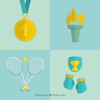 Set de elementos olímpicos en diseño plano