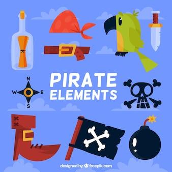 Set de elementos pirata planos