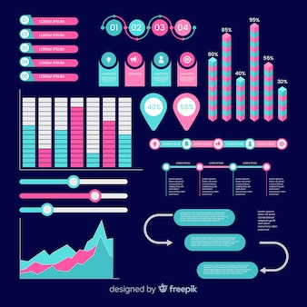 Set elementos planos infográficos