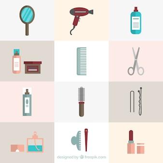 Set de elementos planos de peluquería