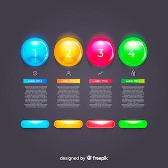 Set de elementos plásticos realistas de infografía