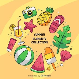 Set de elementos veraniegos dibujados