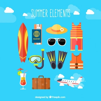 Set de elementos del verano