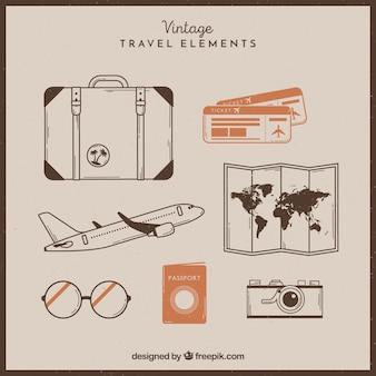 Set de elementos de viaje retro dibujados a mano