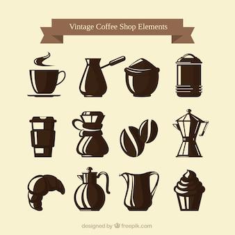 Set de elementos vintage de cafetería y dulces