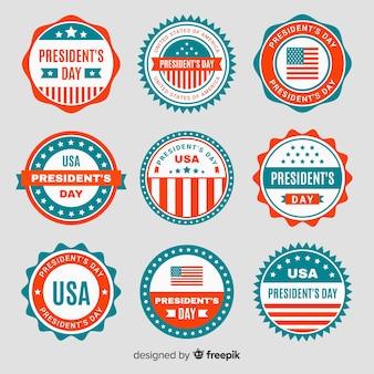 Set de emblemas del día del presidente