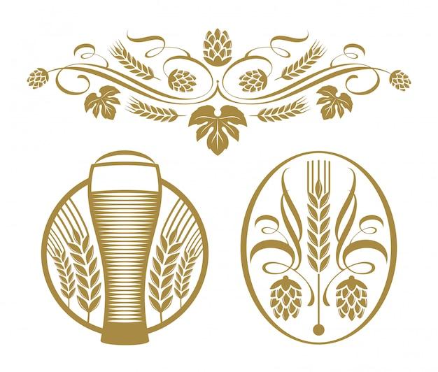 Set - emblemas de lúpulo y cerveza.