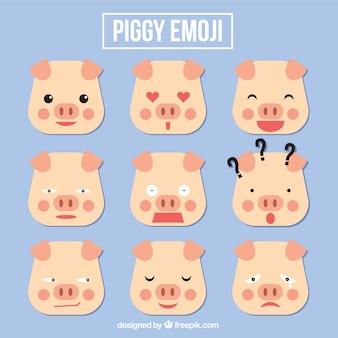 Set de emoticonos de cerdo en estilo geométrico