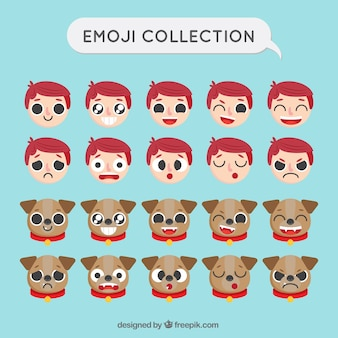 Set de emoticonos con chico y perro en diseño plano