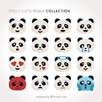 Set de emoticonos de panda lindo en diseño plano