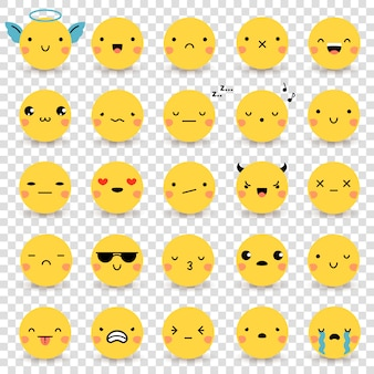 Set de emoticonos transparentes