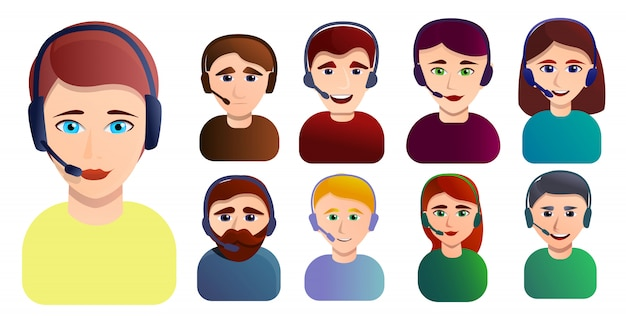 Set de empleados del centro de llamadas. conjunto de dibujos animados de los empleados del centro de llamadas