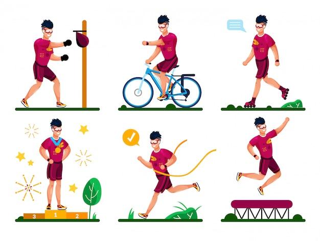 Set de entrenamiento deportivo moderno al aire libre