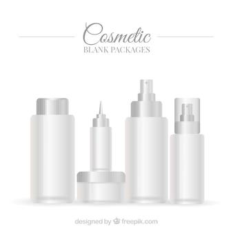 Set de envases blancos de productos de belleza