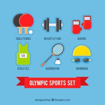 Set de equipamiento deportivo en diseño plano