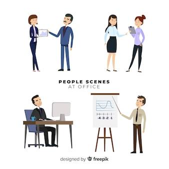 Set escenas gente en la oficina