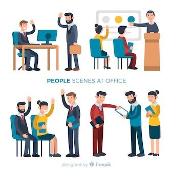 Set escenas oficina plana