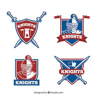 Set de escudos heráldicos con armaduras y espadas