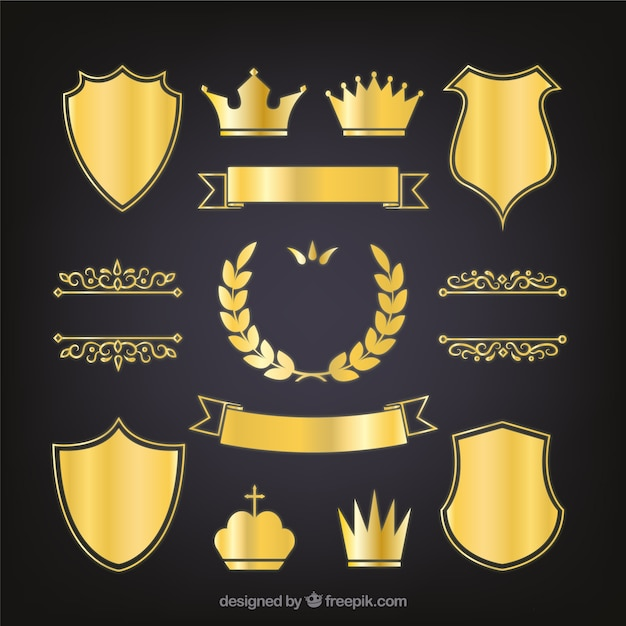 Set de escudos heráldicos dorados elegantes
