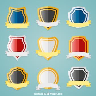 Set de escudos planos con cintas