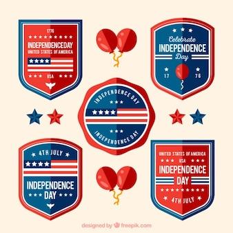 Set de escudos planos del día de la independencia