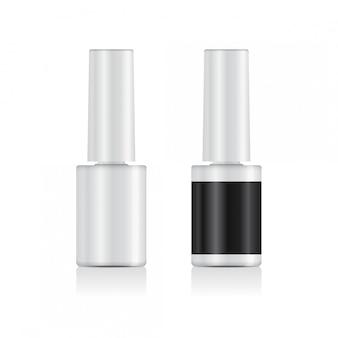 Set de esmalte de uñas realista. plantilla de botella blanca