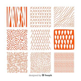 Set de estampados dibujados de formas abstractas