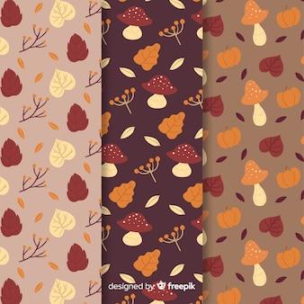 Set de estampados dibujados de otoño