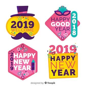 Set de etiquetas de año nuevo 2019