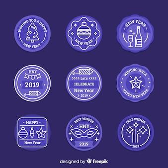 Set de etiquetas azules de año nuevo 2019
