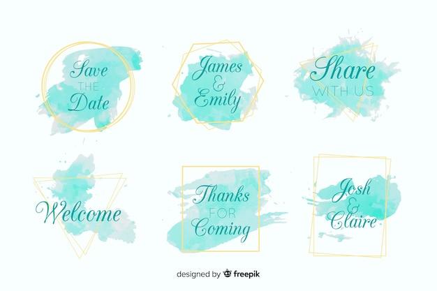 Set de etiquetas de boda con manchas de acuarela