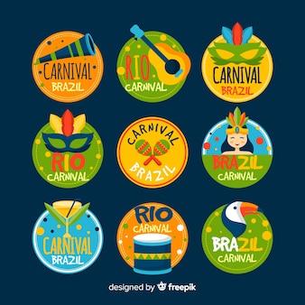 Set de etiquetas de carnaval de brasil