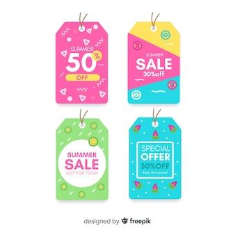 Set de etiquetas coloridas de rebajas veraniegas