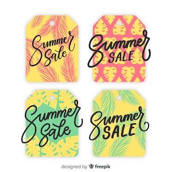Set de etiquetas coloridas de rebajas de verano