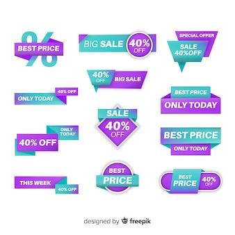 Set de etiquetas degradadas de compras