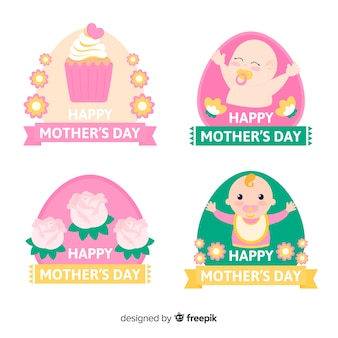 Set de etiquetas del día de la madre