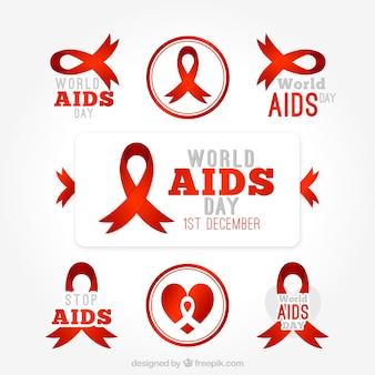 Set de etiquetas del día del sida