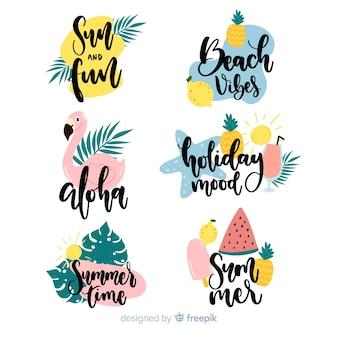 Set de etiquetas dibujadas veraniegas coloridas