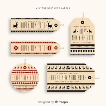 Set de etiquetas e insignias de año nuevo