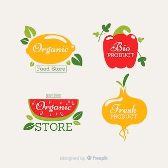 Set etiquetas frutas y verduras frescas