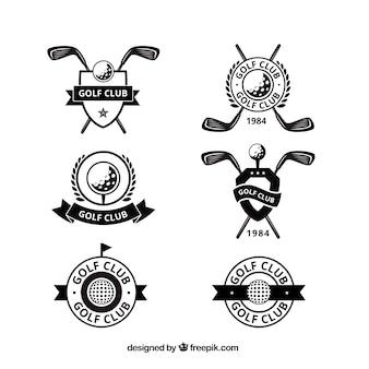 Set de etiquetas de golf en estilo plano