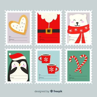 Set de etiquetas de navidad