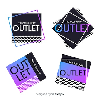 Set de etiquetas de outlet