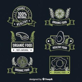 Set etiquetas pizarra vintage fruta orgánica