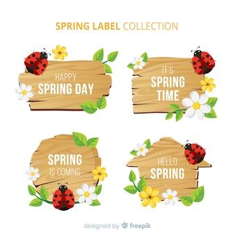 Set etiquetas primavera mariquitas