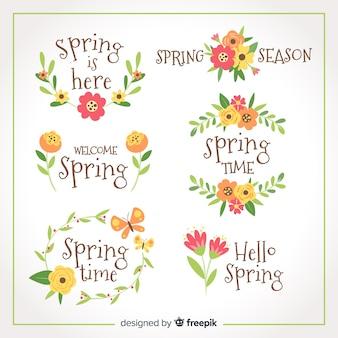 Set de etiquetas de primavera
