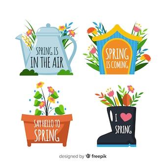 Set de etiquetas primaverales