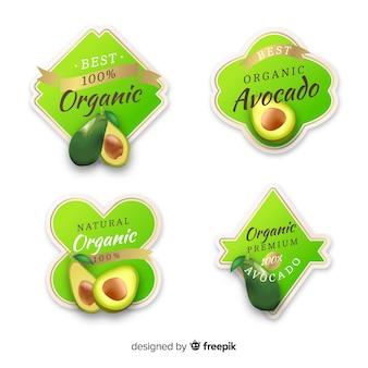 Set etiquetas realistas aguacate orgánico