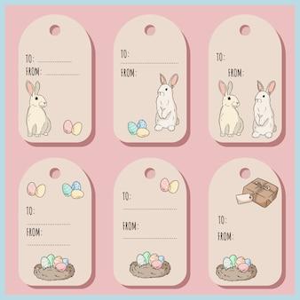 Set con etiquetas de regalo de pascua y tarjetas con conejito de pascua