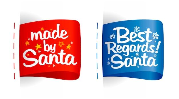 Set de etiquetas para regalos - hecho por santa y saludos cordiales santa